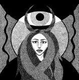 Flicka med horns royaltyfri illustrationer