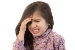 Flicka med huvudvärk Royaltyfri Foto