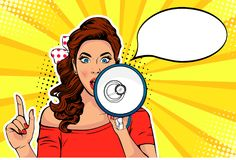 Flicka med illustrationen för vektor för megafonpopkonst den retro Kvinna med högtalare Kvinnlig meddelande rabatt eller försäljn stock illustrationer