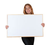Flicka med informationsbrädet Arkivbild