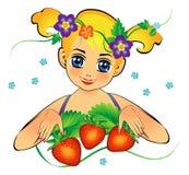 Flicka med jordgubben Fotografering för Bildbyråer