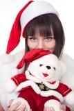 Flicka med julisbjörnen royaltyfri foto