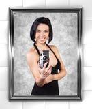 Flicka med kameran Arkivbilder