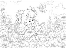 Flicka med kaninen och fj?rilen vektor illustrationer