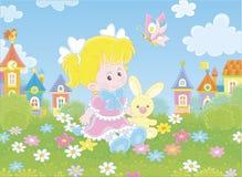 Flicka med kaninen och fj?rilen royaltyfri illustrationer