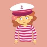 Flicka med kaptenen Hat och dräkt Royaltyfria Foton