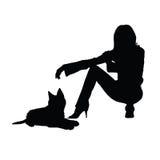 Flicka med kattkonturillustrationen Arkivfoto