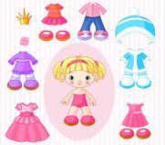 Flicka med kläder royaltyfri illustrationer