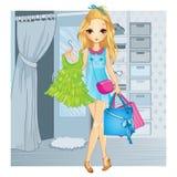 Flicka med kläder och shoppingpåsar stock illustrationer
