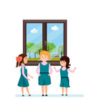 Flicka med klasskompisar och att tala och att ha gyckel som berättar intressera roliga berättelser stock illustrationer