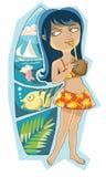 Flicka med kokosnöten royaltyfri illustrationer