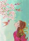 Flicka med kolibrier för flygillustration för näbb dekorativ bild dess paper stycksvalavattenfärg Royaltyfria Foton