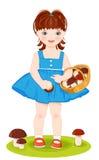 flicka med korgen som är full av champinjoner Royaltyfri Fotografi