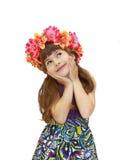 Flicka med kranen Arkivfoto