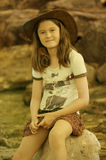 Flicka med läderhatten Arkivbilder