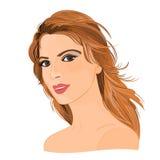 Flicka med långt brunt hår Arkivbild