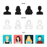 Flicka med långt hår, blond, lockig gråhårig man Fastställda samlingssymboler för Avatar i svart, lägenhet, symbol för översiktss royaltyfri illustrationer