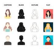 Flicka med långt hår, blond, lockig gråhårig man Fastställda samlingssymboler för Avatar i tecknade filmen, svart, översikt, läge royaltyfri illustrationer