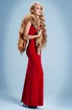 Flicka med långt hår i en röd klänning royaltyfri bild