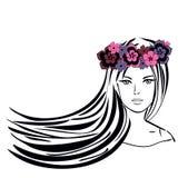 Flicka med långt hår i krans av blommor stock illustrationer