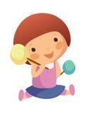 Flicka med lollypop Arkivfoto