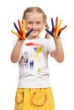 Flicka med målade händer Arkivbilder