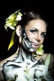 Flicka med makeup för allhelgonaafton jitters Fotografering för Bildbyråer