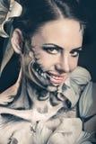 Flicka med makeup för allhelgonaafton skräck Royaltyfria Foton