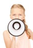 Flicka med megafonen Arkivfoto