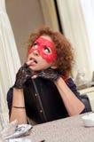 Flicka med menyn Royaltyfri Fotografi