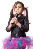 Flicka med mikrofonen Royaltyfria Foton