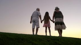 Flicka med morföräldrar på solnedgången lager videofilmer