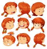 Flicka med olika ansiktsuttryck vektor illustrationer