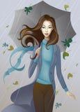 Flicka med paraplyet Fotografering för Bildbyråer