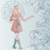Flicka med paraplyet Vektor Illustrationer