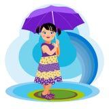 Flicka med paraplyet Arkivbild