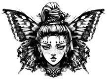 Flicka med pigtailen royaltyfri illustrationer