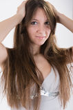 Flicka med pimples arkivbild