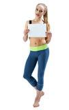 Flicka med plakatet Arkivfoton