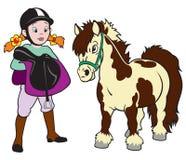 Flicka med ponnyhästen Royaltyfria Bilder