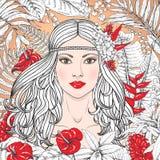 Flicka med röda blommor Royaltyfri Fotografi