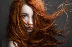 Flicka med rött hår arkivbild
