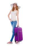 Flicka med resväskor Royaltyfria Bilder