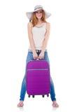 Flicka med resväskor Royaltyfri Fotografi