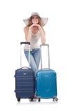 Flicka med resväskor Arkivfoto