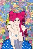 flicka med rosa hårfantasi om gulliga monster Arkivfoto