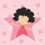 Flicka med rosa stjärnaförälskelseuttryck Royaltyfri Foto