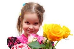 Flicka med rosor Arkivfoton