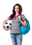 Flicka med ryggsäck Royaltyfria Bilder