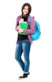Flicka med ryggsäcken Arkivfoto